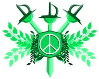 Symbol of peace on shield with sword isolated Stock Image