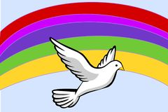 The Symbol for Peace - A White Dove in Front of a Rainbow. This is a digital art illustration. The illustration shows in the foreground a white flying dove. It Stock Photo