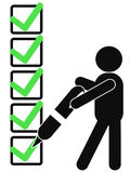 Symbol people with checklist. A black symbol people holding pen to sign check mark on checklist Stock Photography