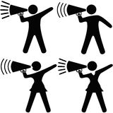 Symbol People Cheerleader Megaphone. A set of Symbol people including cheerleaders shout cheers, announcements, your copy into megaphones. Clipping Paths Royalty Free Stock Photo