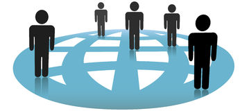 Symbol People Connections on Blue Globe Network Stock Images