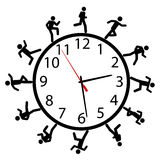 Symbol people run a race around the time clock. A symbol person or people in a hurry run a work day race around the clock or timeclock Royalty Free Stock Photo