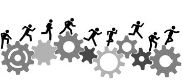 Symbol people run a race on industry gears Stock Photo