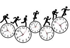 Symbol people run a race in time on clocks Stock Photo