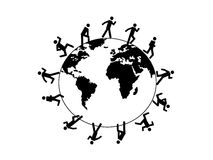 Symbol people running around the world Royalty Free Stock Image