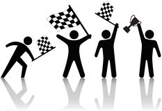 Symbol People Wave Checkered Flag Trophy Stock Photography
