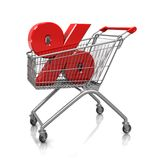 Symbol of percent in cart Royalty Free Stock Images