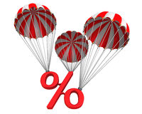 Symbol percent reduced by parachute Royalty Free Stock Photos
