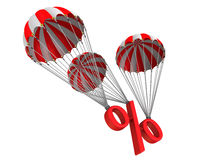 Symbol percent reduced by parachute Stock Images