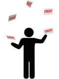 Symbol person juggles finances credit card debt Royalty Free Stock Images
