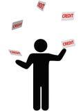 Symbol person juggles finances credit card debt. A symbol person juggles credit cards, debt, and personal finances credit card Royalty Free Stock Images