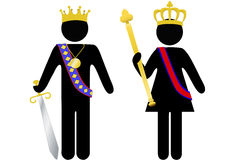 Symbol person royal king and queen with crowns Stock Images