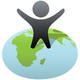 Symbol person stands on globe to celebrate success. Everybody wants to rule the world! Symbol person stands on globe to celebrate global success, victory Royalty Free Stock Photography