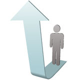 Symbol Person on up arrow to success. A symbol person on the way up stands on an arrow to success Royalty Free Stock Photo