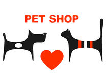 Symbol of pet shop. With big red heart and pets Royalty Free Stock Photo