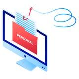 Symbol Phishing för personlig information, isometrisk stil stock illustrationer
