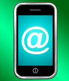 At Symbol On Phone Shows @ At-Sign Email Royalty Free Stock Image