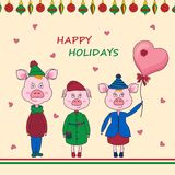 Symbol of 2019-pink pigs in clothes.New Year colorful balls on white backround. Cute greeting card for Winter Holidays and Celebrations. Red,green,yellow stock illustration