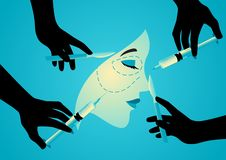 Symbol of plastic surgery. Vector illustration of hands holding scalpels and syringes near woman face, symbol of plastic surgery royalty free illustration