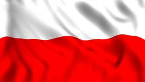 Flag poland waving in the wind. Symbol of poland flag waving silk in the wind royalty free illustration