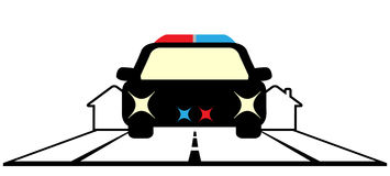 Symbol with police car and cottage Stock Images