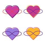 Symbol Polyamory Serce I nieskończoność endless love Biały tło Set Set Few serca royalty ilustracja
