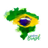 Symbol, poster, banner Brazil. Map of Brazil with the decoration of the national flag. Style watercolor drawing. Brazil map with national flag. Vector royalty free illustration