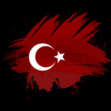 Symbol, poster, banner Turkey. Map of Turkey with the decoration of the national flag. Style watercolor drawing. Vector. Royalty Free Stock Images
