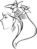 Symbol profile woman Royalty Free Stock Image