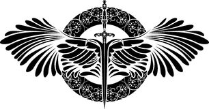 Symbol of protection, sword with wings Stock Photography
