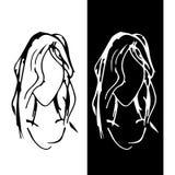 Symbol przedstawia twarz dziewczyna z długie włosy Sztandar lub ikona również zwrócić corel ilustracji wektora royalty ilustracja