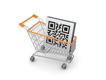 Symbol of QR code in a shopping trolley. Isolated on white background.3d rendered Stock Photography