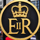 Symbol of Queen Elizabeth II Regina Royalty Free Stock Photography