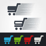 Symbol quick purchase, silhouette of shopping trolley.  Simple shopping cart, add to cart item, buy button. Green, grey, blue, red. And white color Stock Photo