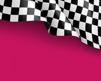 Symbol racing canvas realistic yellow background. Symbol racing canvas realistic pink background. Flag upright, sign marking start and finish. Vector Stock Photography