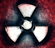 Symbol of radiation on a steel background Royalty Free Stock Photo