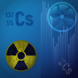 Symbol of radioactive hazard. A cesium atom 147. Design of nuclear contamination. Symbol of radioactive hazard vector illustration. A cesium atom 147 on a blue Royalty Free Stock Images