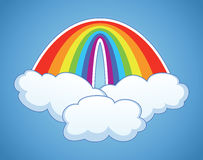 vector symbol of rainbow  and clouds Royalty Free Stock Image