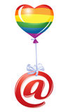 At-symbol with rainbow heart balloon Royalty Free Stock Photo