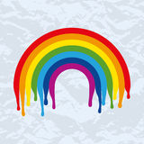Vector symbol of rainbow on old paper Stock Photo