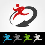 Symbol rate of delivery package or speed icon of download and upload, silhouette  of running man, runner with arrow Royalty Free Stock Image