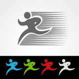 Symbol rate of delivery package or speed icon of download and upload, silhouette of running man, runner Stock Images