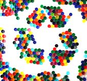 Symbol recycle from color plastic caps Royalty Free Stock Photography