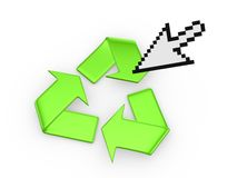 Symbol of recycle and cursor. Royalty Free Stock Photos