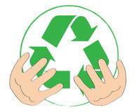 Symbol for recycling. Cartoon hands holding the international icon / symbol for recycling. Isolated on white background. Colors can be changed in additional Stock Images