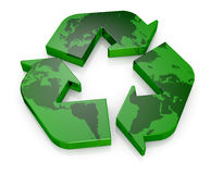 Symbol of recycling. Top view of one recycling symbol with the map of earth (3d render Royalty Free Stock Image