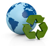 Symbol of recycling and earth globe Stock Photos
