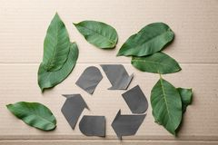 Symbol of recycling and leaves Stock Photos