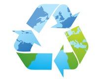 symbol recyklingu mapa świata Obrazy Royalty Free