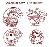 Symbol of 2017 - Red Fire Rooster. Vector set of symbols 2017 - Red fire cock.  contour roosters for new year design on white background Royalty Free Stock Photos